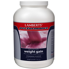 Lamberts Weight Gainer pulver 1816g – jordgubbssmak (viktökningspulver – Viktökning – vikthöjare)