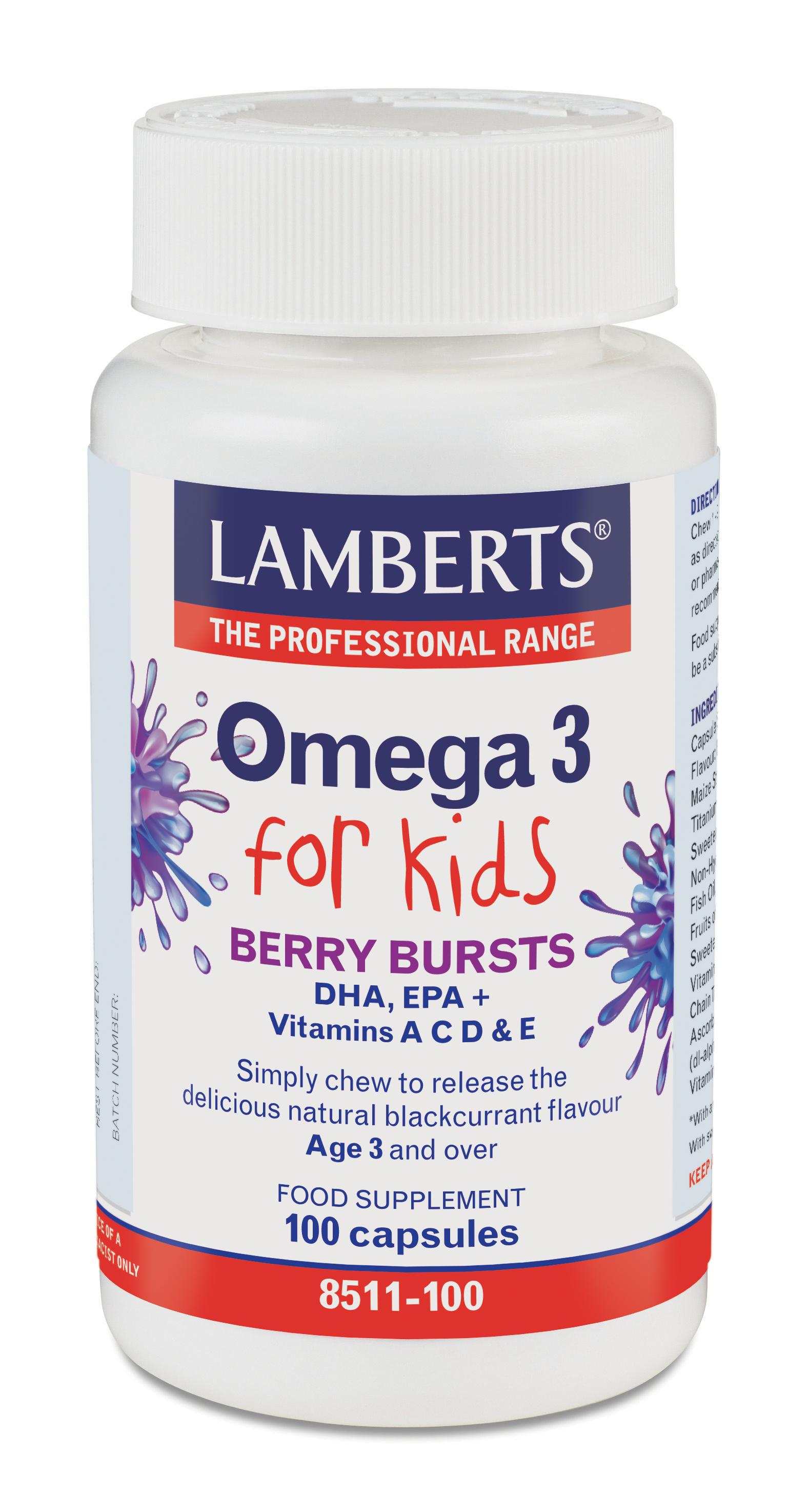 Omega 3 för barn (fiskoljekapslar med god bärsmak) – 100 kapslar