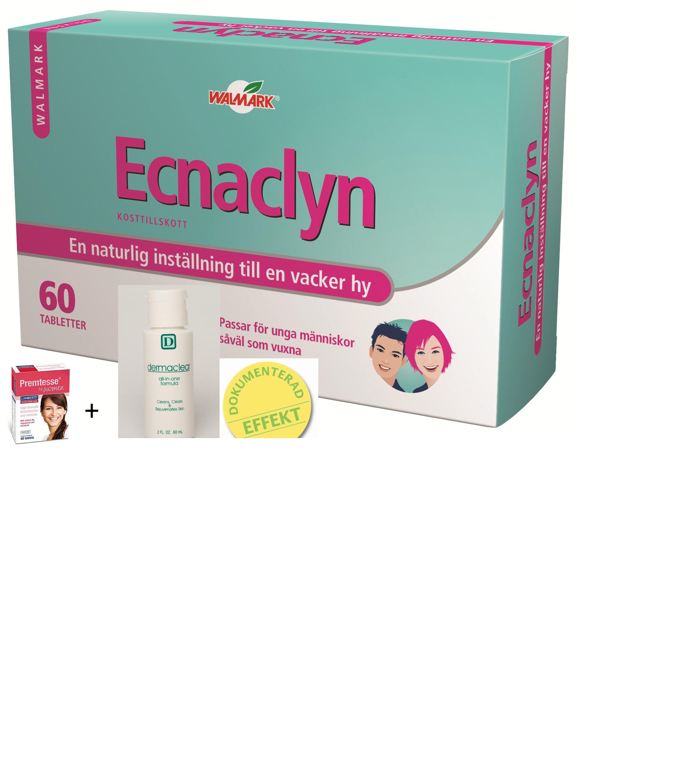 Stora aknepaketet – Ecnaclyn 60 tabl. + Dermaclear 60ml + Multivitamin – Naturlig effektiv aknebehandling med 100% Nöjdhetsgaran