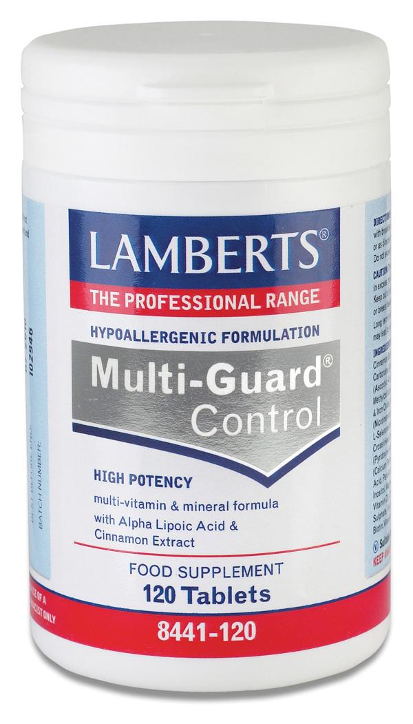 MULTI-GUARD CONTROL (Multivitamin kosttillkskott för bättre blod socker balans) (120 tabletter)