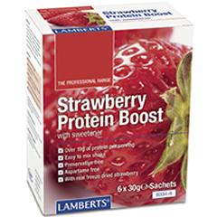 Protein Boost Pulver (Vassleprotein) Kosttillskott (Jordgubbsmak) 6 x 30g färdiga dospåsar