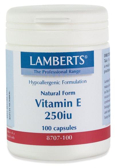 NATURLIG VITAMIN E 250iu (kosttillskott för huden) (100 kapslar)