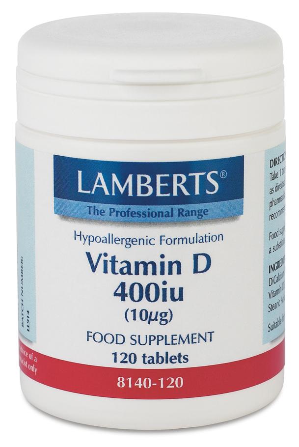 Vitamin D (kolekalciferol D3) 400iu (120 tabletter)